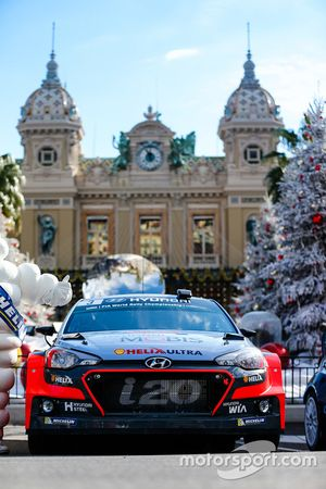 The 2016 Hyundai Motorsport factory entry on display on the Casino square