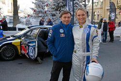 Jost Caputo, head of Volkswagen Motorsport with Caroline Woszniacki