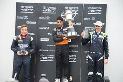 Race 3 podium: Race winner Jehan Daruvala, second place Ferdinand Habsburg and third place Artem Markelov