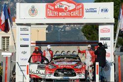 Stéphane Lefebvre, Gabin Moreau, Citroën DS3 WRC, Citroën World Rally Team on the podium