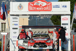 Стефан Лефевр и Габин Моро, Citroën DS3 WRC, Citroën World Rally Team на подиуме