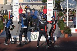 Podium: winners Sébastien Ogier, Julien Ingrassia, Volkswagen Motorsport, second place Andreas Mikkelsen, Anders Jäger, Volkswagen Motorsport, third place Thierry Neuville, Nicolas Gilsoul, Hyundai Motorsport
