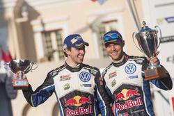 Podium: second place Andreas Mikkelsen, Anders Jäger, Volkswagen Motorsport