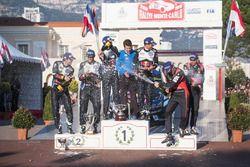 Podium: winners Sébastien Ogier, Julien Ingrassia, Volkswagen Motorsport, second place Andreas Mikke