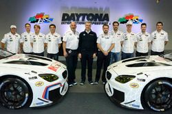 Jens Marquardt, BMW Motorsport Director, Augusto Farfus, Dirk Werner, Bruno Spengler, Bill Auberlen, Bobby Rahal, John Edwards, Lucas Luhr, Graham Rahal, Kuno Wittmer with the 100th anniversary BMW M6 GTLM livery