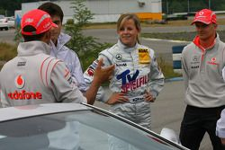 Lewis Hamilton, McLaren Mercedes and Susie Stoddart, Persson Motorsport AMG Mercedes and Heikki Kova