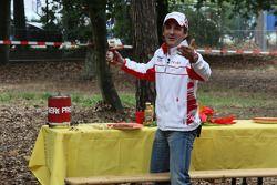 Timo Glock, Toyota F1 Team, a campsite