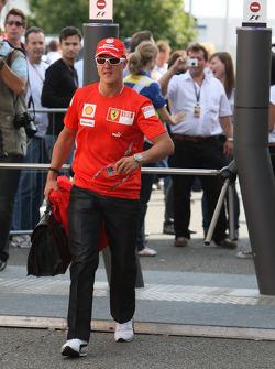 Michael Schumacher,  Scuderia Ferrari arrives at the track