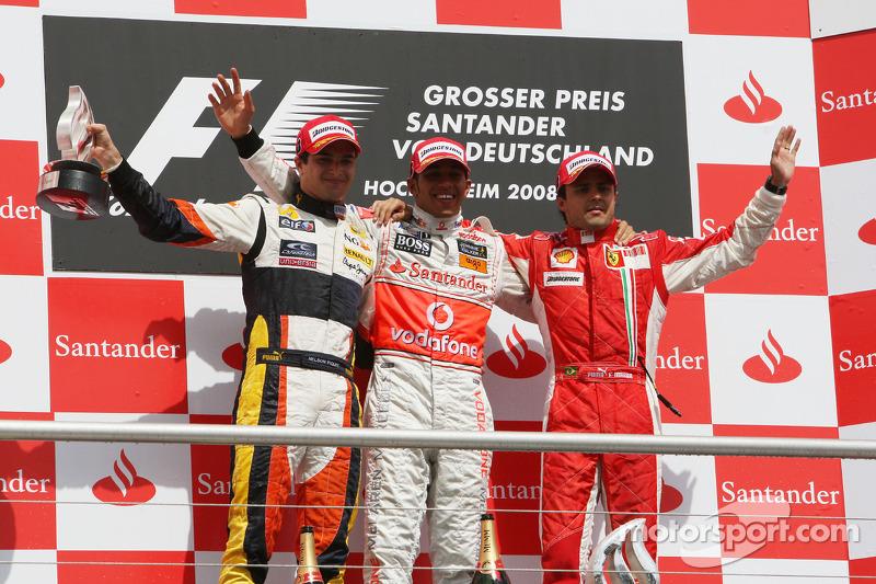 4- GP de Alemania 2008 (24 años, 7 meses y 1 día): 3º Felipe Massa, 2º Nelsinho Piquet, 1º Lewis Hamilton