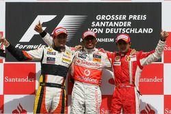 Podium: race winner Lewis Hamilton, second place Nelson A. Piquet, third place Felipe Massa