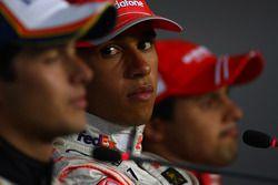 Press conference: race winner Lewis Hamilton, second place Nelson A. Piquet, third place Felipe Mass