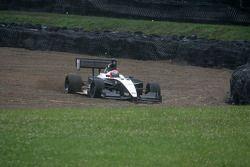 James Davison slides into the gravel pit
