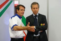 Piercarlo Ghinzani, Seat Holder A1 Team Italy with Mario Almondo, Scuderia Ferrari, Technical Director