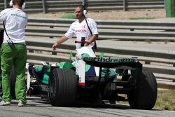 Alexander Wurz, Test Driver, Honda Racing F1 Team, stops on circuit