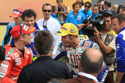 Second place Casey Stoner and race winner Valentino Rossi