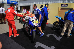The winning bike of Valentino Rossi in parc fermé
