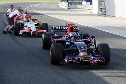 Sebastien Bourdais, Scuderia Toro Rosso, stops pitlane