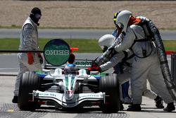 Jenson Button, Honda Racing F1 Team, RA108, pit stop