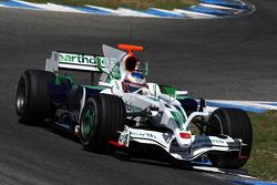 Jenson Button, Honda Racing F1 Team, RA108, ve yeni köpek balığı kanatlı motor kapağı
