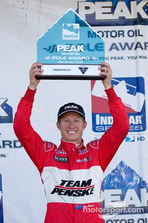 Pole winner Ryan Briscoe with this pole trophy