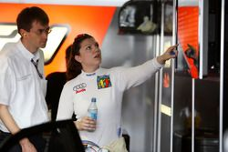 Katherine Legge, TME, Audi A4 DTM looking at the timing monitor