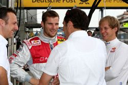 Martin Tomczyk, Audi Sport Team Abt Sportsline, Audi A4 DTM and Mattias Ekström, Audi Sport Team Abt Sportsline, Audi A4 DTM chatting with Hans-Jurgen Abt, Teamchef Abt-Audi