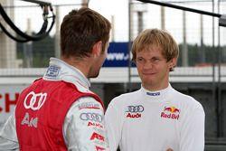 Mattias Ekström, Audi Sport Team Abt Sportsline, Audi A4 DTM talking to Martin Tomczyk, Audi Sport Team Abt Sportsline, Audi A4 DTM