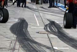 Tyre marks at in front of the DTM pitboxes