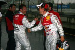 Mattias Ekström, Audi Sport Team Abt Sportsline, congratulates Tom Kristensen, Audi Sport Team Abt, with his pole position