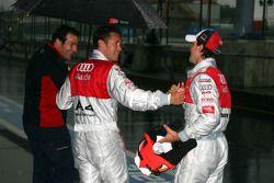 Markus Winkelhock, Audi Sport Team Rosberg, congratulates Tom Kristensen, Audi Sport Team Abt, with his pole position