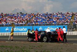 Pushing the car of Mattias Ekström, Audi Sport Team Abt Sportsline, Audi A4 DTM uphill on the alter
