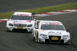 Tom Kristensen, Audi Sport Team Abt, Audi A4 DTM, leads Susie Stoddart, Persson Motorsport AMG Merce
