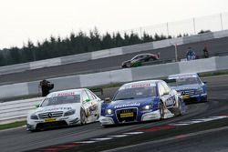 Katherine Legge, TME, Audi A4 DTM side by side with Jamie Green, Team HWA AMG Mercedes, AMG Mercedes