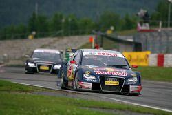 Mattias Ekström, Audi Sport Team Abt Sportsline, Audi A4 DTM, leads Timo Scheider, Audi Sport Team