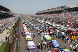 Cars are lined-up in preparation to the start