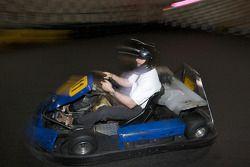 Drivers and media go-kart event: ex-race car driver and NAPA Auto Parts 200 spokesperson Bertrand Godin