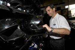 Drivers and media go-kart event: ex-race car driver and NAPA Auto Parts 200 spokesperson Bertrand Godin gets ready