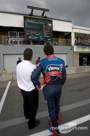 Brad Coleman fastest after his qualifying run watches the next qualifying runs