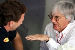 Bernie Ecclestone, President and CEO of Formula One Management and Christian Horner, Red Bull Racing
