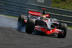 Lewis Hamilton, McLaren Mercedes locks up his from wheel