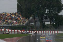 Car run under yellow as the weather deteriorates