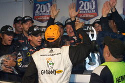 Victory lane: race winner Ron Fellows celebrates