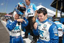 Pole winner Scott Pruett celebrates with Memo Rojas