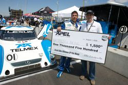 Pole winner Scott Pruett accepts pole check