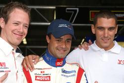 Greg Franchi, Pedro Lamy and Steve Zacchia celebrate pole