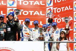 GT1 podium: third place Philipp Peter, Allan Simonsen, Darren Turner and Andrew Thompson