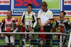 Troy Bayliss, Ryuichi Kiyonari, Max Biaggi on the podium