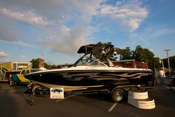 Watkins Glen fan fest: a Centurion boat on display