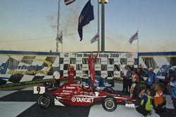 Victory lane: winner Scott Dixon celebrates