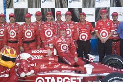 Victory lane: Scott Dixon celebrates his victory